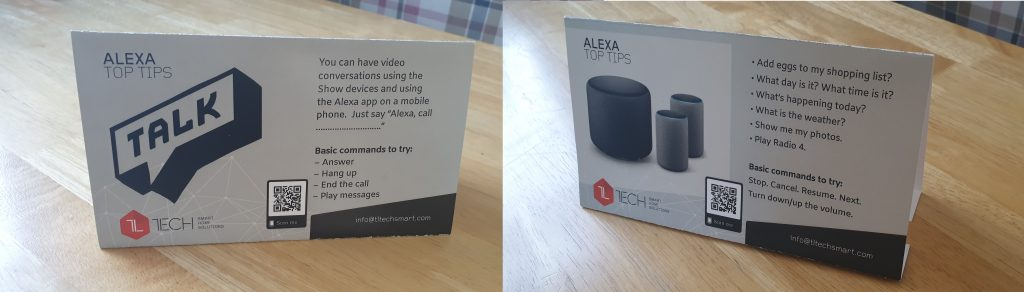 Pop-up guides that can sit alongside the Amazon Alexa device for easy reference
