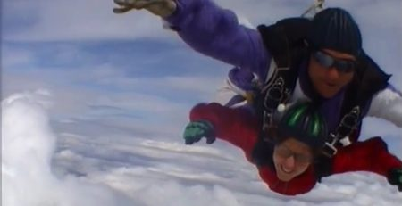 Our co-founder Caroline doing a tandem skydive in Perth in 2014