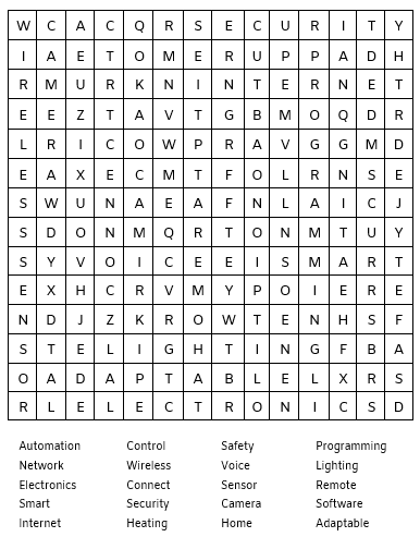 smart home related wordsearch