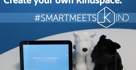 Kindspace graphic with mascots and speaker