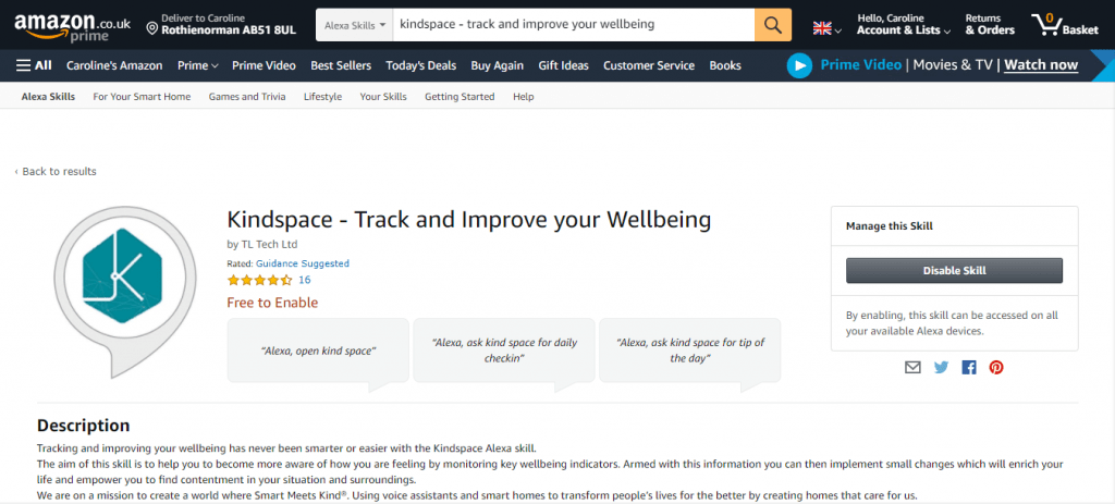 Kindspace Alexa Skill Store Screenshot