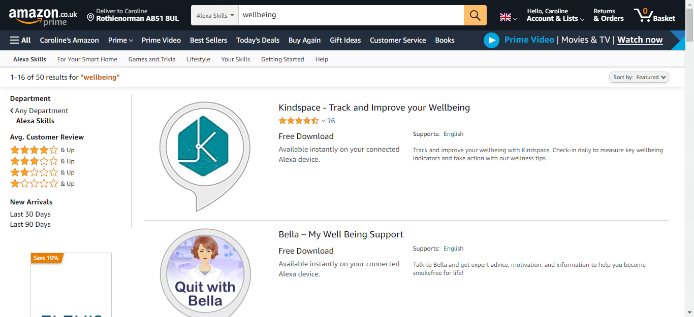 Search for Wellbeing in the Alexa Store